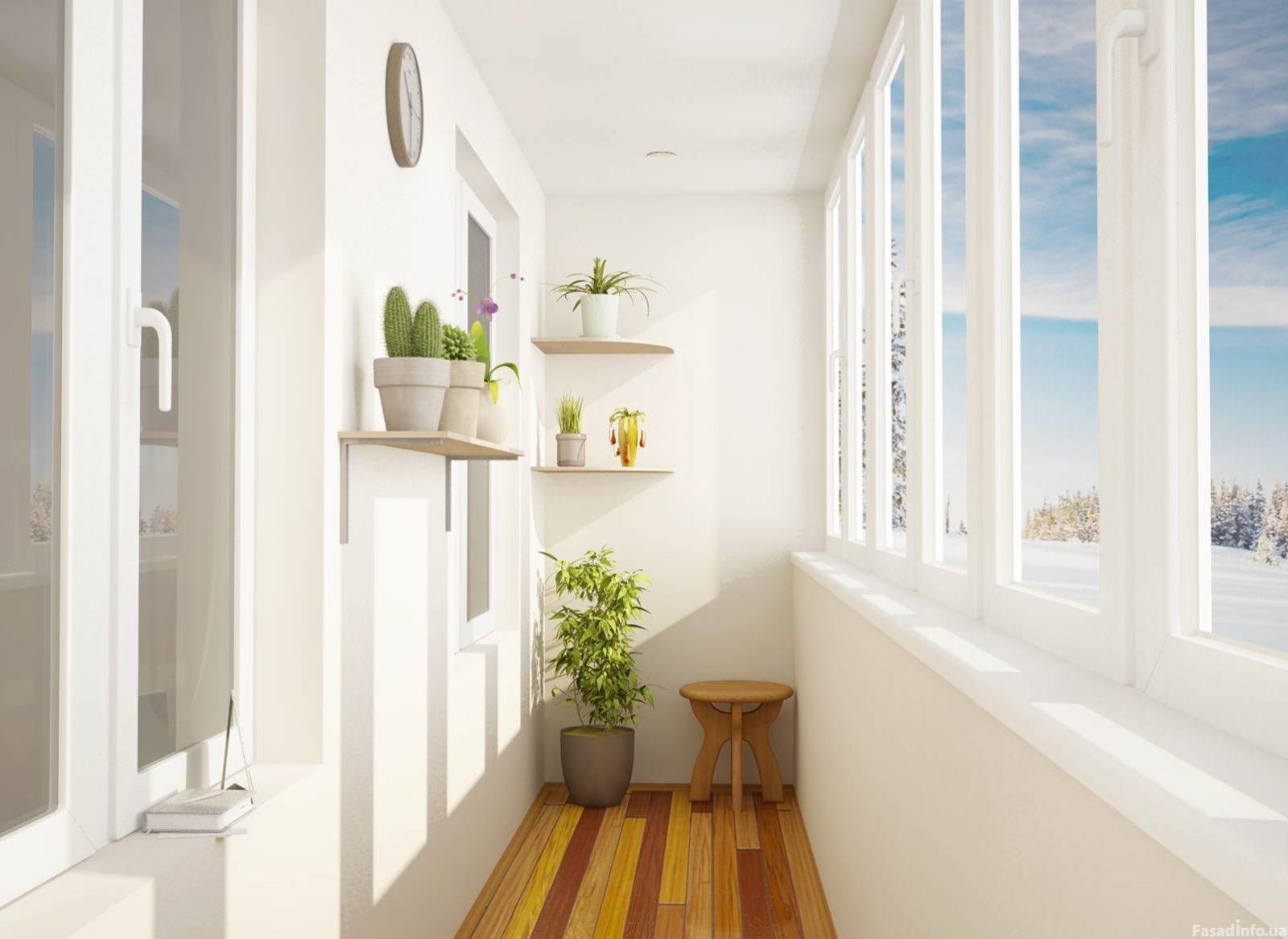 Показать картинки отделки балконов внутри.