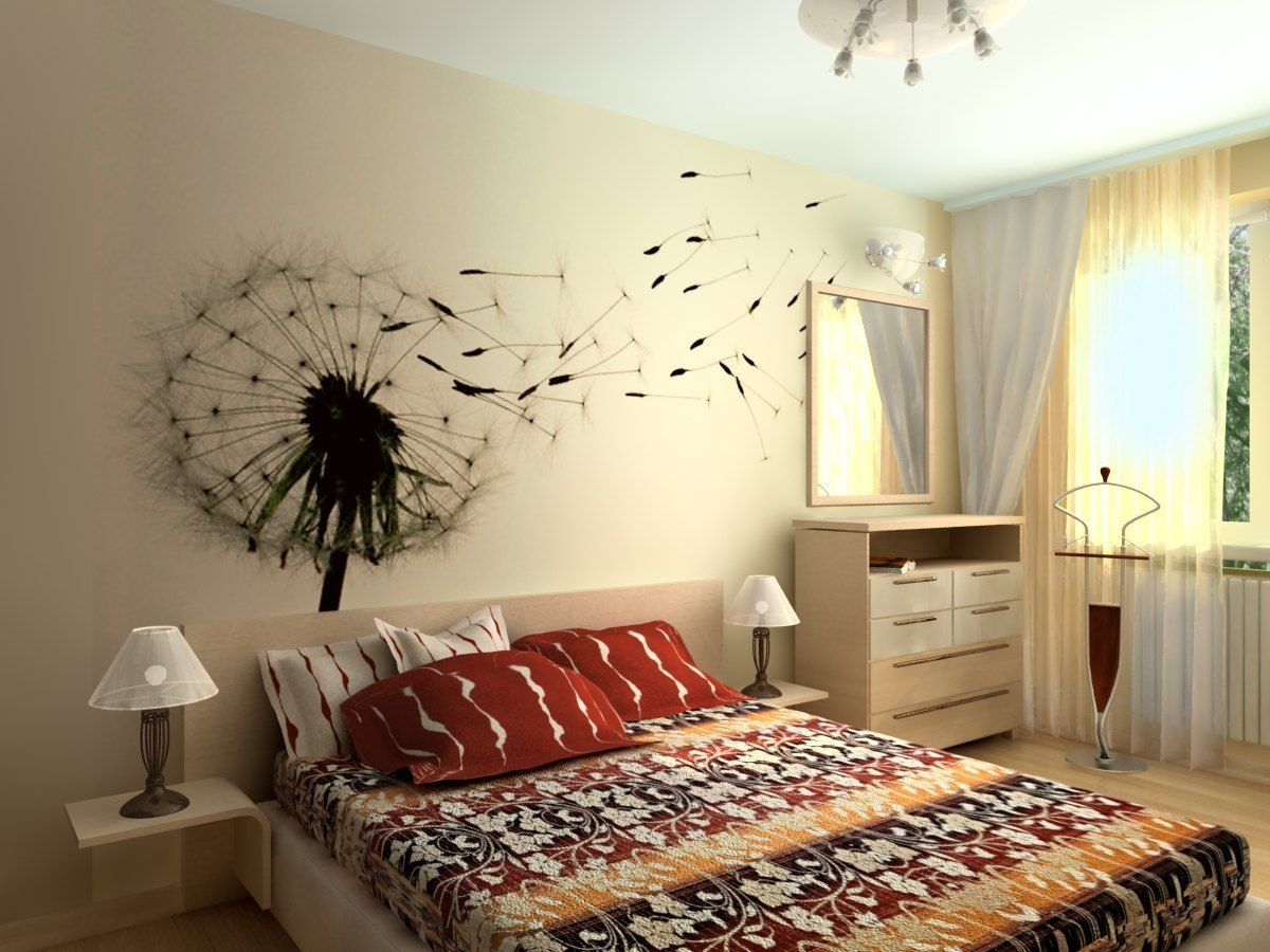 Рисунки для спальни на стене своими руками