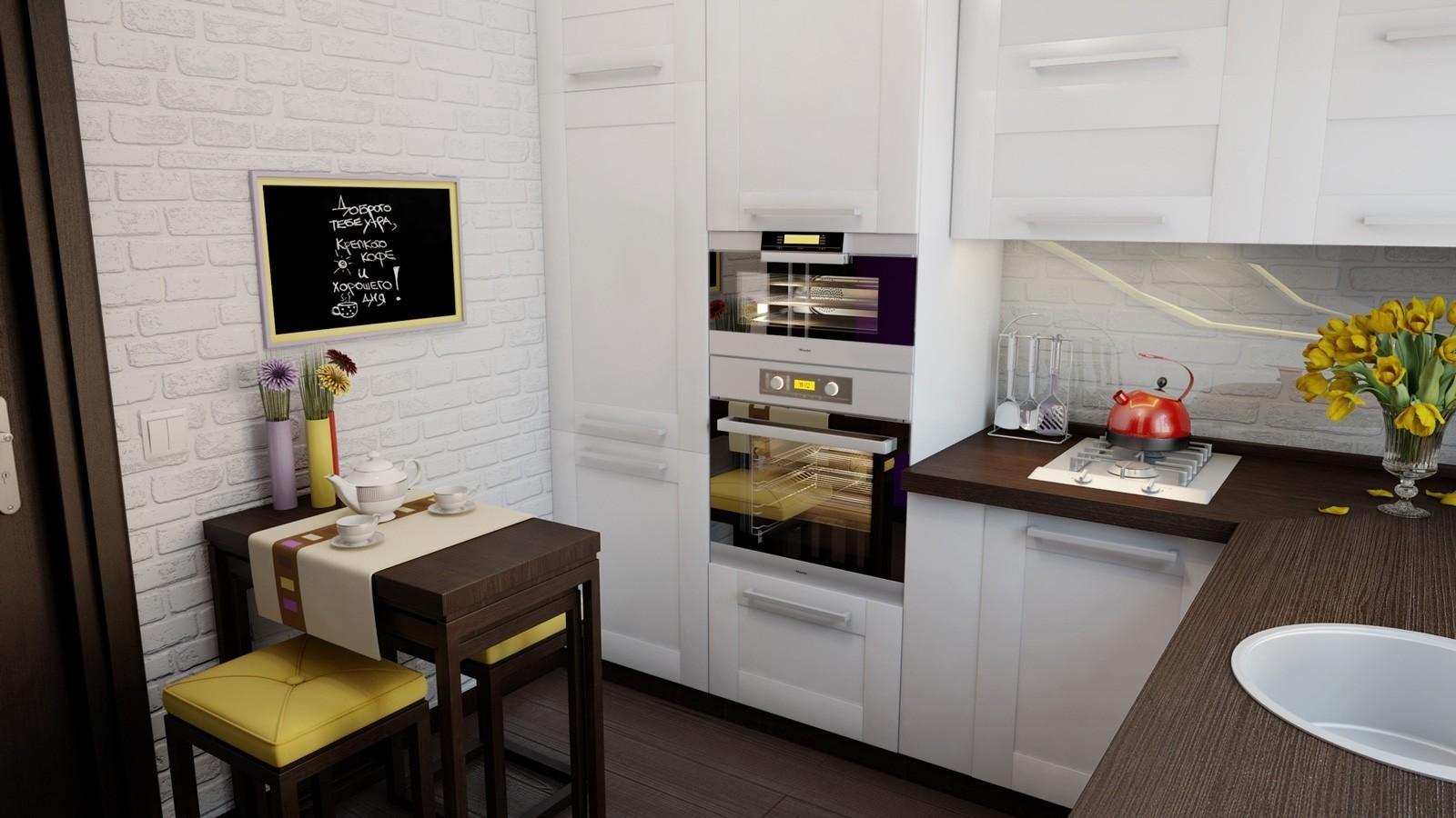 Визуальное увеличение маленькой кухни