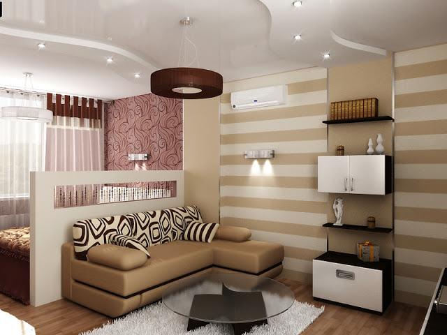 совмещение спальни и гостинной в одной комнате